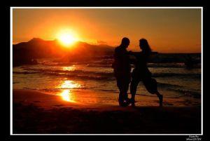 Mustafa og Pembe i solnedgang